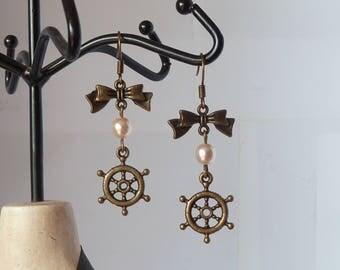 rockabilly sailor earrings boucles d'oreilles pinup gouvernail et noeud