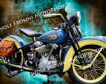 Digital Download Harley Davidson 1936 EL Knucklehead, Gifts for Him, Classic, Classic Motorcycles, Motorcycles, Wall Art, Motorcycle prints