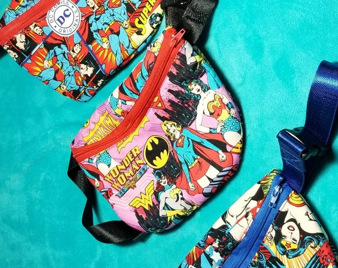 DC characters fanny pack