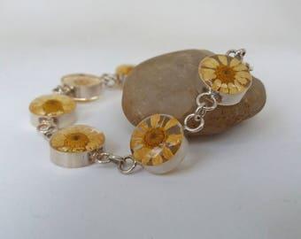 Daisy Real Flower Bracelet Sterling Silver Lucite  Dried Flower Jewelry Yellow Vintage Chain Bracelets UK