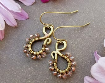 Crystal Copper Paisley Earrings >>  Petite Scroll Drop Earrings in Brass with Clear/Copper Crystals >> Boho Style