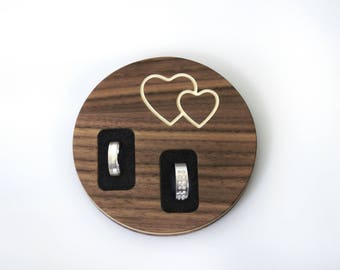 Ring pillow, wedding ring made of wood (walnut) - alternative - exceptional