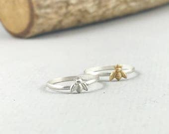 Bee Ring , stacking ring, Minimalist Ring, Silver, Meaningful Ring, Tinny Bee, Gift for Her