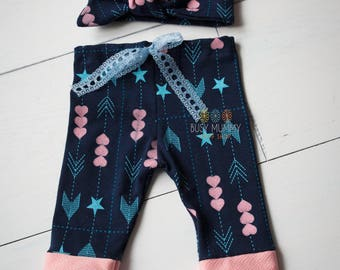 Photography prop newborn size baby girl pants and headband set