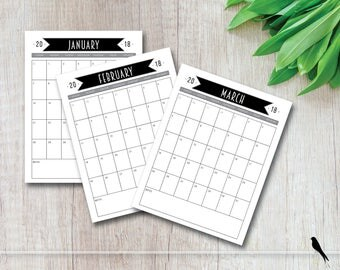 2018 Printable Wall Calendar - Tall Black Banner 12 Month Wall Calendar - Home Office Family Classroom Calendar - Instant Download