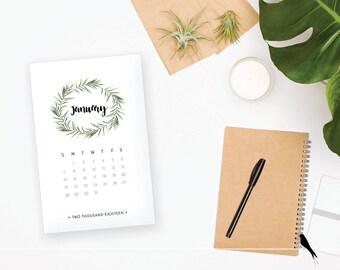 2018 Printable Desk Calendar - Elegant Woodland Green Wreath 12 Monthly Desk Calendar - 2018 Instant Download Calendar
