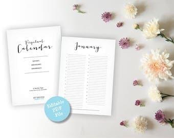 Beautiful Perpetual Calendar - U.S. Letter / A4 size Birthday Calendar - Anniversary Calendar - Eternal Planner - Instant Download PDF