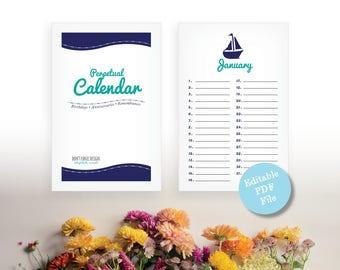 Editable PDF Printable Beach Perpetual Planner - Eternal Birthday, Anniversary Calendar - Beach Calendar - Instant Download