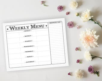 Rustic Printable Menu Planner - Rustic Daily Menu Planner Sheet - Grocery List Planner