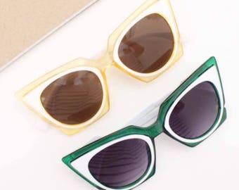 Yellow Retro Cat eye sunglasses