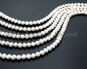 10x12mm High Quality Natural Mother of Pearl beads, AB White Potato Pearl beads, Loose Pearl Beads, 16inch strand, SKU#T57