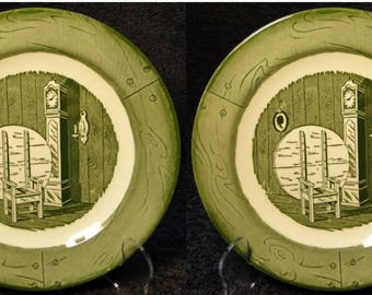 """TWO Royal China Colonial Homestead Salad Plates 7 1/4"""" Grandfather Clock Set of 2 EXCELLENT!"""