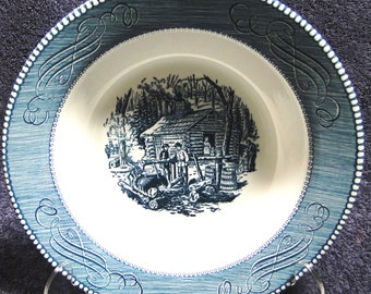 "Currier Ives Royal China Serving Bowl 9 1/8"" Blue White Maple Sugaring EXCELLENT!"