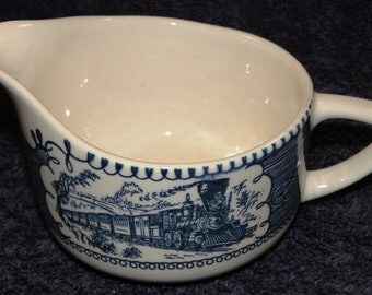 Royal China Currier Ives Blue White Creamer Express Train EXCELLENT!