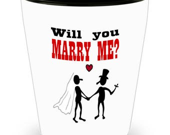 Custom Will You Marry Me Shot Glass Newly Engaged Mug Engagement Gift for Bride Mug Engagement Gift Idea Bride To Be Gift