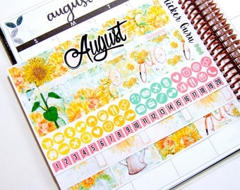August Monthly Kit 2017 // Sunflowers Monthly Planner Sticker Kit Erin Condren // Planner Stickers [M007]