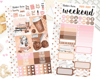 Coffee Back To School Reading Bookworm Girl Boss Book Lover / Personal Weekly Sticker Kit / Erin Condren MAMBI Happy Planner Stickers [***]