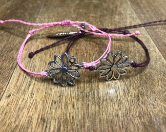 Daisy charm wax string bracelet, customize your bracelet,