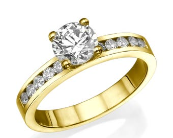 1.35 CT D/SI1 Affordable Diamond, Commitment Ring, Luxury Diamond Ring, Round Cut Diamond Engagement Ring, Solitaire Ring, Yellow Ring