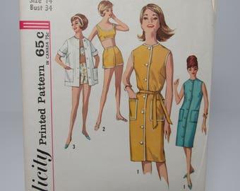 Vintage Simplicity Pattern Size 14, Bust 34, #4976, 1960's Dress Pattern,Bra Top Pattern