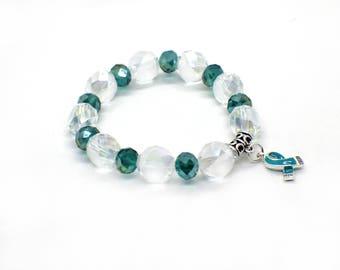 Ovarian Cancer - Ovarian Cancer Jewelry - Ovarian Cancer Bracelet - Ovarian Cancer Survivor - Ovarian Cancer Gifts - Ovarian Cancer Ribbon