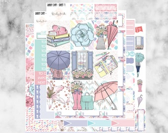W51 Rainy Day ECLP VERTICAL Weekly Kit, Planner Stickers, Erin Condren, Spring Sticker Kit, Chic Stickers, Rain, Pastel, Umbrella, Weather