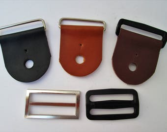 3 Sets of Guitar Strap Kits , Black,Brown or Tan Leather, New choices in Hardware