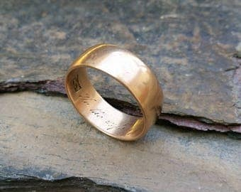 Victorian Inscribed Rose Gold Band