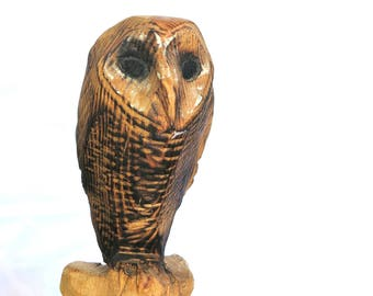 Barn Owl Wood sculpture, natural wood, chainsaw carving, Cyprus pine timber.