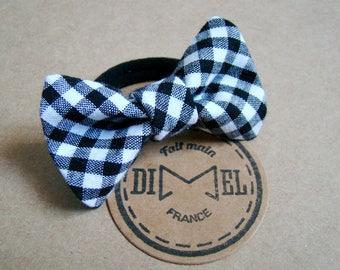 Bow tie on elastic black/white Plaid woman girl hair