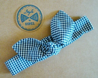 Headband tie dark blue gingham baby girl woman custom headband