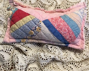 Pink Patchwork Quilt Posing Pillow/ Newborn Girl Posing Pillow/ Posing Pillow Prop