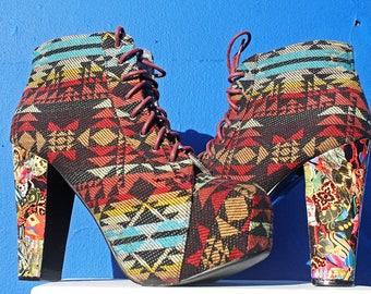 LADIES heeled boot. Aztec Collage. Lace up, Ladies size UK 8, Eu 41, Us 10.
