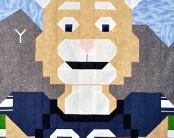 Football Cougar Mascot Quilt Pattern with multiple sizes Wall to Lap