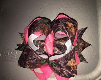 Camo double stacked hairbow