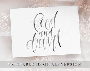 Printable Handwritten Cards and Gifts Wedding or Party Modern Calligraphy Digital Print
