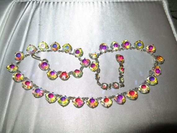Vintage 1950s sparkly open back aurora borealis necklace