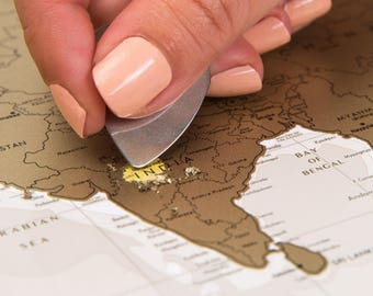 Push Pin Travel Map Scratchable Off World Map Wall Poster - World map poster push pins