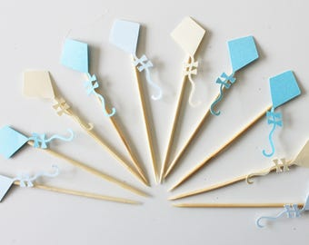 10 cupcakes (cupcake toppers) toppers - kites