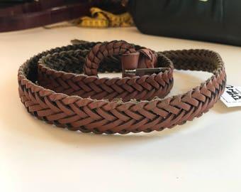 Vintage Brown Leather Braided Belt