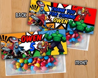 Avengers Favor Bag Toppers - Avengers Treat Bag Topper - Superhero Party Invite Printable Ironman Hulk Thor Captain America