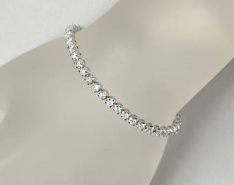 4 Carat White Diamond Tennis Bracelet in solid 14k white gold, Anniversary Gift