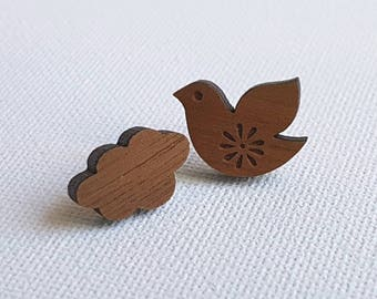 Mismatch wooden stud earrings -  laser cut dove and cloud - modern studs mash up