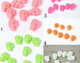 7x11mm  Plastic Resin Skull Head Flat Back, Resin Flat back Cabochon Hair Bow Center,Wholesale Skull Flat Beads, Skulls,Dia de los muertos,