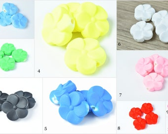 19mm Matte Rubberized Plastic Floral Flower Beads, Mixed Color Rose Beads,Flower Beads,Drilled Flowers,Flower Beads, Flower Beads,