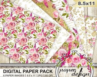Watercolor flower digital paper pack - gold paper scrapbooking glitter paper lace roses watercolor - romantic bloom #D05