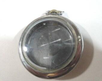 Vintage Pocket Watch Case Signed Illinois Watch Case Co  Spartan Base Metal 47mm 12mm Deep