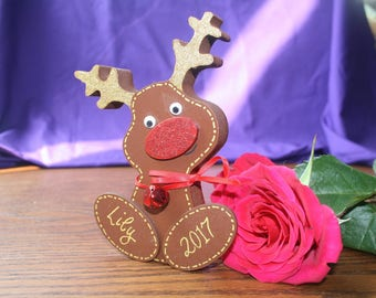 Personalised freestanding reindeer ornament