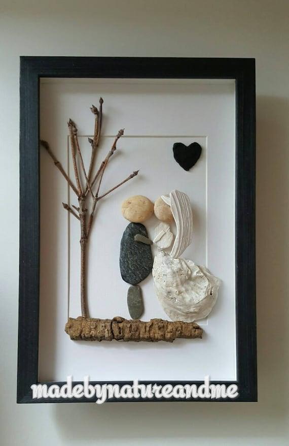 Pebble Art Wedding Bride And Groom Unique Sea Shells Wedding