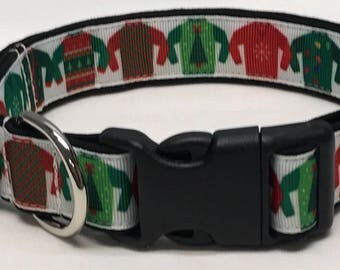 dog collar, ugly xmas sweater 2, ugly Christmas sweater, ugly xmas sweater, Christmas, Christmas dog collar, holiday dog collar, holiday dog